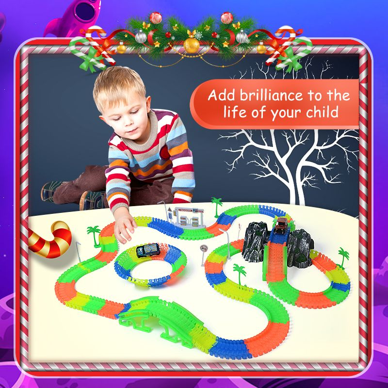 Railway magical slot stunt race truck flexible toys for boys children's railroad tracks light with cars racing miracle track
