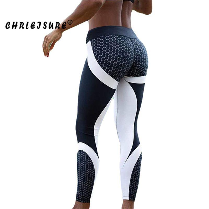 CHRLEISURE Fitness Legging Geometric honeycomb digital printing Leggings high waist Hip breathable polyester Women Legging
