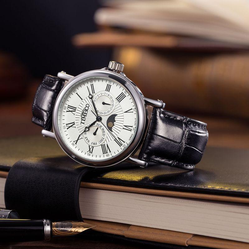 TIME100 Hommes de Montres À Quartz Auto Date Sun Phase Noir Bracelet En Cuir Chiffres Romains Montre-Bracelet D'affaires Colck relogio masculino