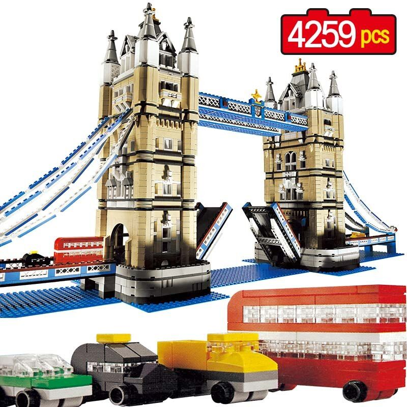 Large Building Blocks Techni City Creator Compatible LegoINGLY World Architecture London Tower Bridge Toys For Children
