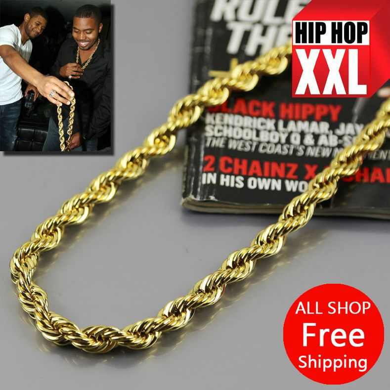 JHNBY High quality Gold-color 76cm Long Twisted Men Hiphop Rope Chain statement Necklace Fashion Jewelry bijouterie