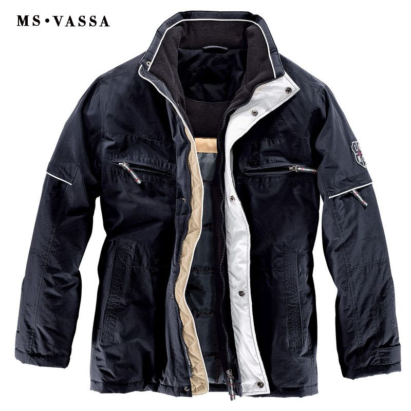 MS VASSA 2018 New Arrivals Navy Winter Jackets Mens Parka Coats Big Fleece Collar Warm Padding Jacket Plus Size Outerwear 11XL
