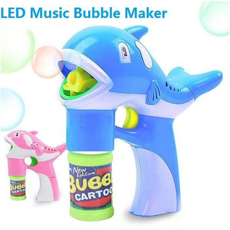 LED Dauphin Pistolet À Bulles Musique Éclairage Dolphin Bubble Maker Jouet Animal de Bande Dessinée De Savon Automatique Pistolet À Eau Jouets Enfants Enfants