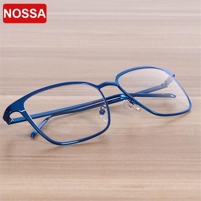 NOSSA marque grand carré lunettes cadre myopie lunettes cadres hommes femmes lunettes mode Vintage métal lunettes cadre