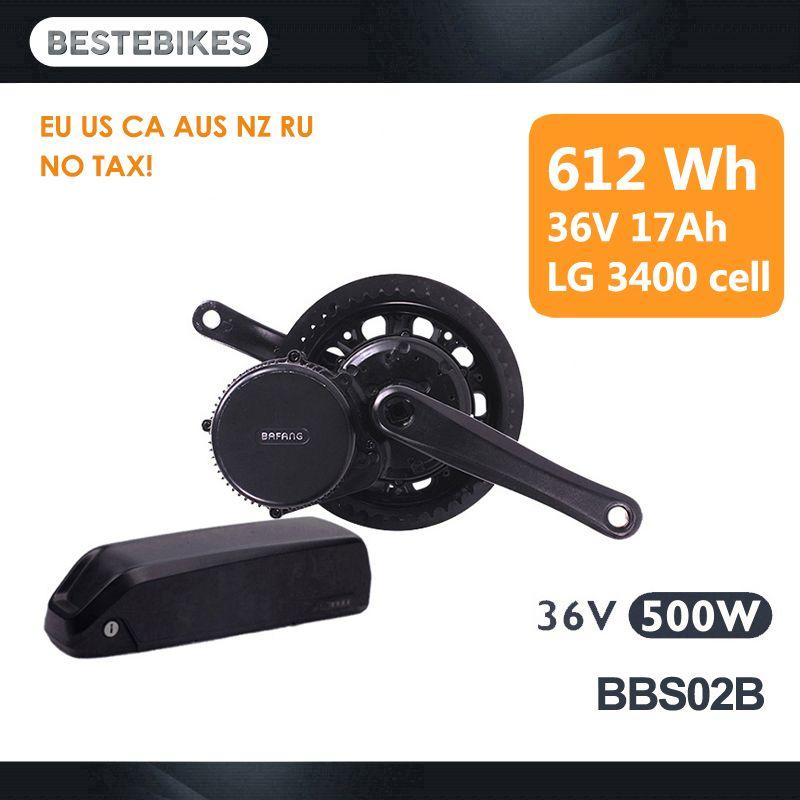 Bafang motor BBS02B 36 V 500 w elektrikli bisiklet batterie velo moteur electrique velo 612 WH/36v17ah LG3400 zelle EU UNS KEINE STEUER