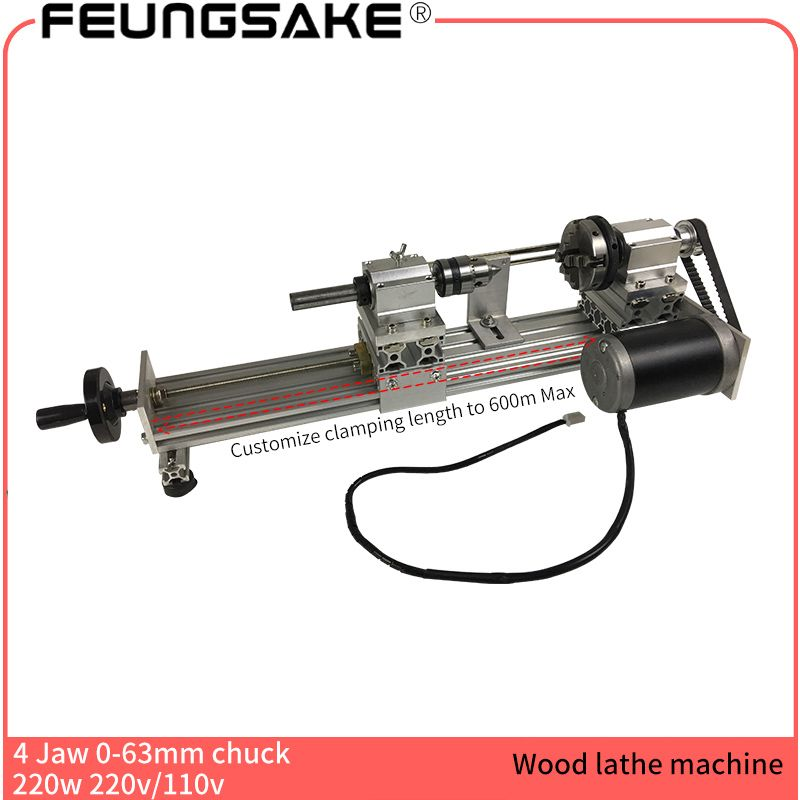 4 claw 63mm chuck 220w spindle Mini Lathe Beads Machine Polisher,square wood 4clamp customize clamp length,DIY Wood Lathe Cutter