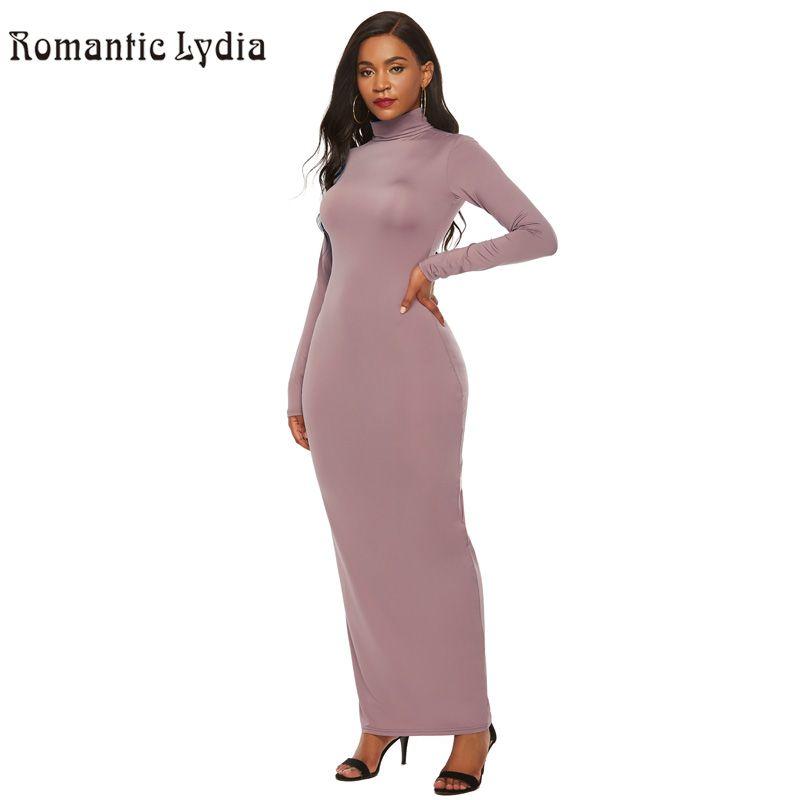 Robe longue moulante automne hiver femmes 2018 couleur unie Slim col roulé Maxi robe grande taille