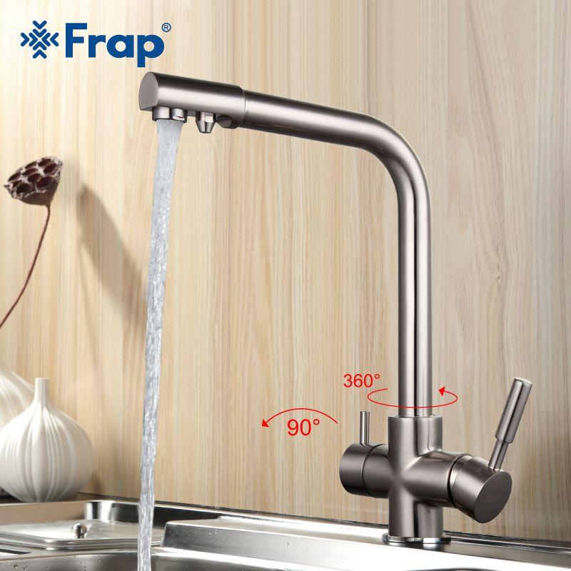 Frap Никель матовый Кухня кран семь письмо Дизайн 360 градусов вращения очистки воды Особенности двойная ручка f4352-5