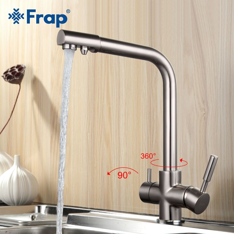 Frap Nickel Brushed Kitchen Faucet Seven Letter Design 360 Degree Rotation Water Purification Features Double <font><b>Handle</b></font> F4352-5