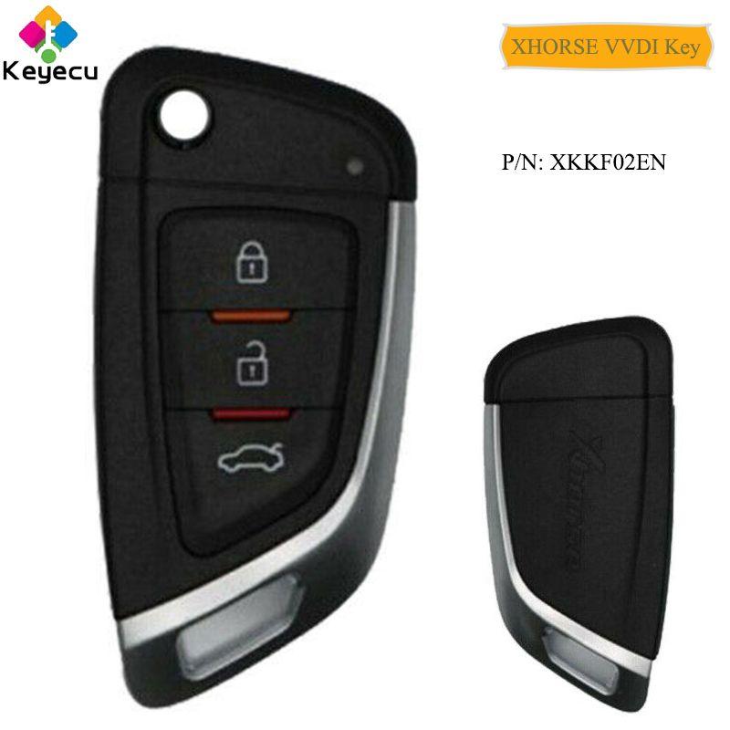 KEYECU XHORSE Englisch Version Messer Stil Fernbedienung Auto Schlüssel Mit 3 Tasten-FOB für VVDI Schlüssel Werkzeug VVDI2 p/N: XKKF02EN
