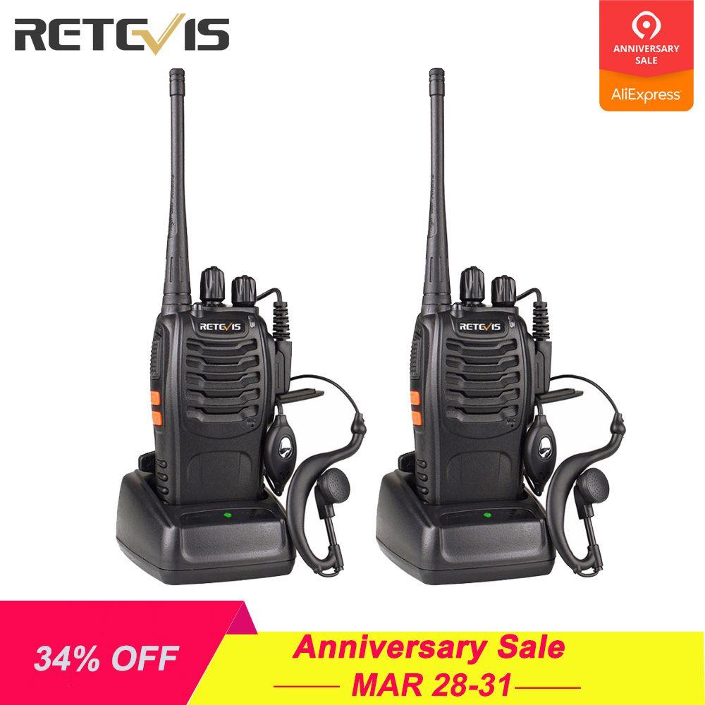 2pcs Retevis H777 Walkie Talkie 3W UHF Radio Station 400-470MHz Handheld Transceiver Radio Communicator USB Charger