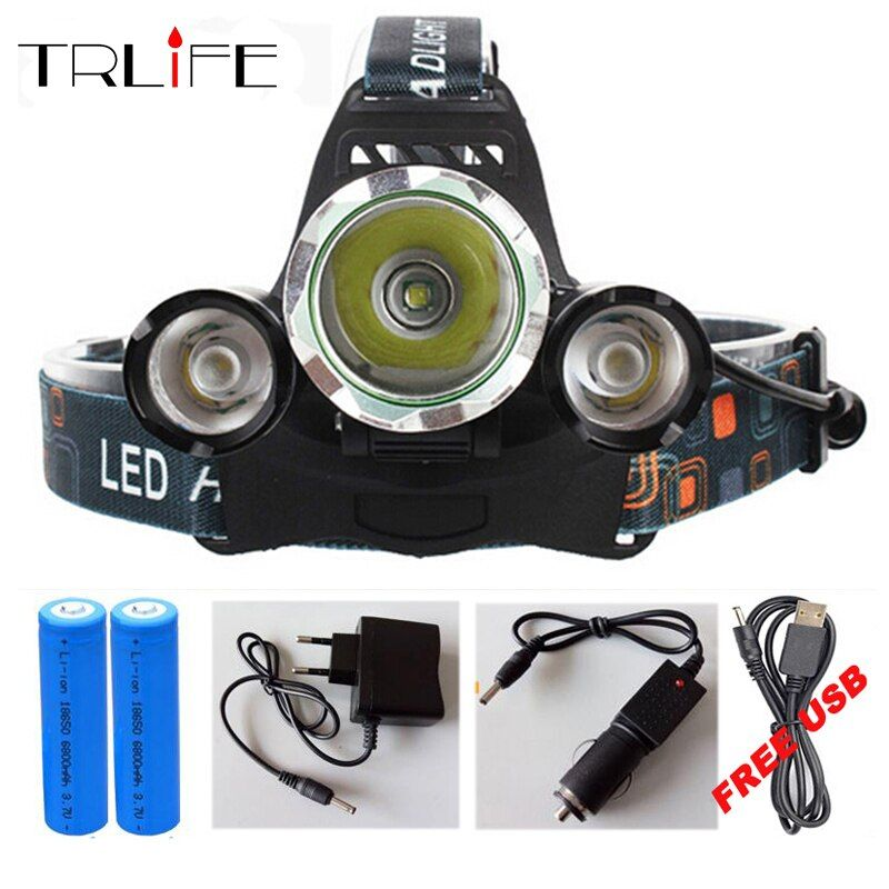 10000Lumens 3 LED CREE XML T6 Headlight <font><b>Headlamp</b></font> Head Lamp Light X900 Flashlight +2x18650 Battery+AC/Car/USB Charger For Fishing