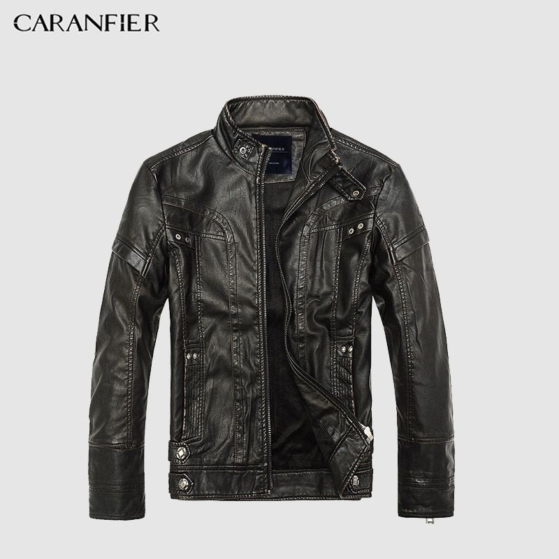 CARANFIER Mens Leather Jackets Men Jacket High Quality Classic Motorcycle Bike Cowboy Jackets Male Plus Velvet Thick Coats M-5XL