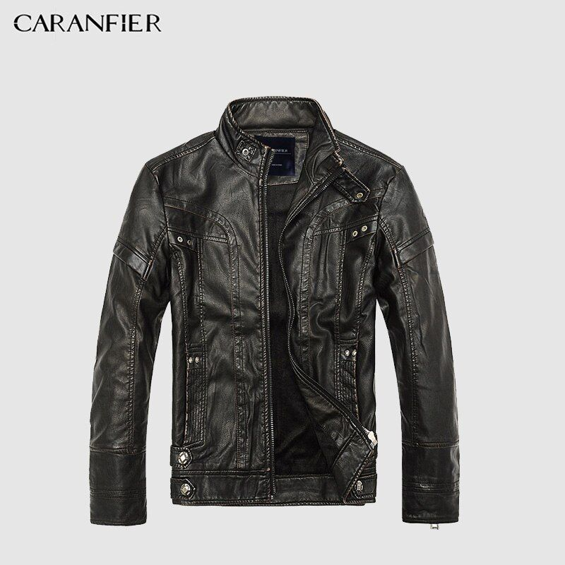 CARANFIER Mens Leather Jackets Men Jacket High Quality Classic Motorcycle Bike Cowboy Jackets Male Plus Velvet Thick Coats M-5XL