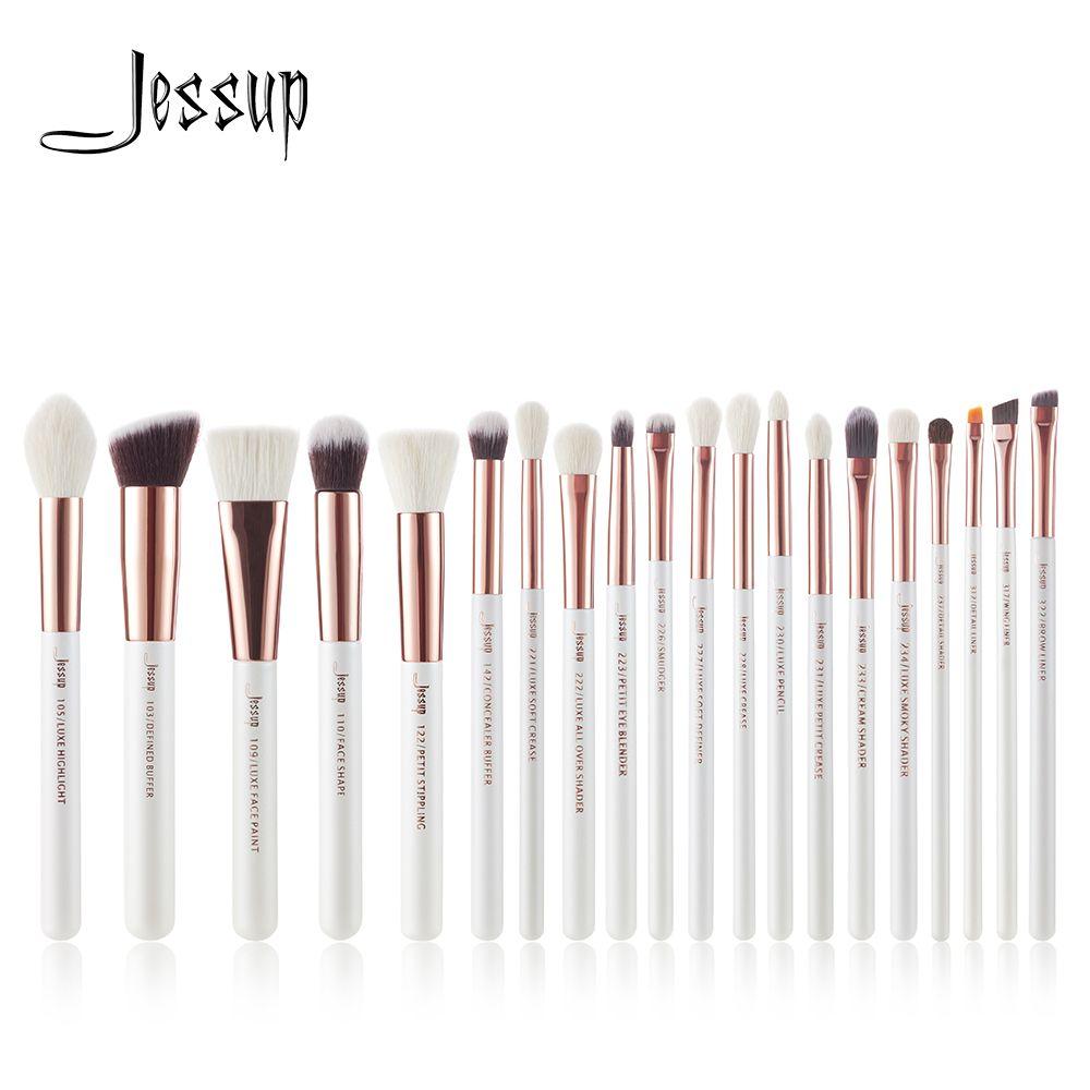Jessup brushes Pearl White/ Rose Gold Professional Makeup Brushes Set Make up Brush Tools Foundation Powder Cosmetic Beauty