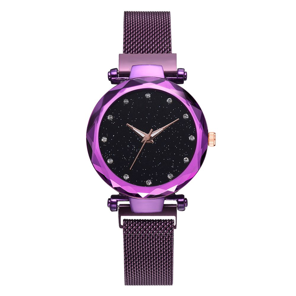 Dropshipping Luxury Mesh Magnet Buckle Starry Quartz Watches For Women Fashion Clock BLUE PURPLE BLACK AND ROSE