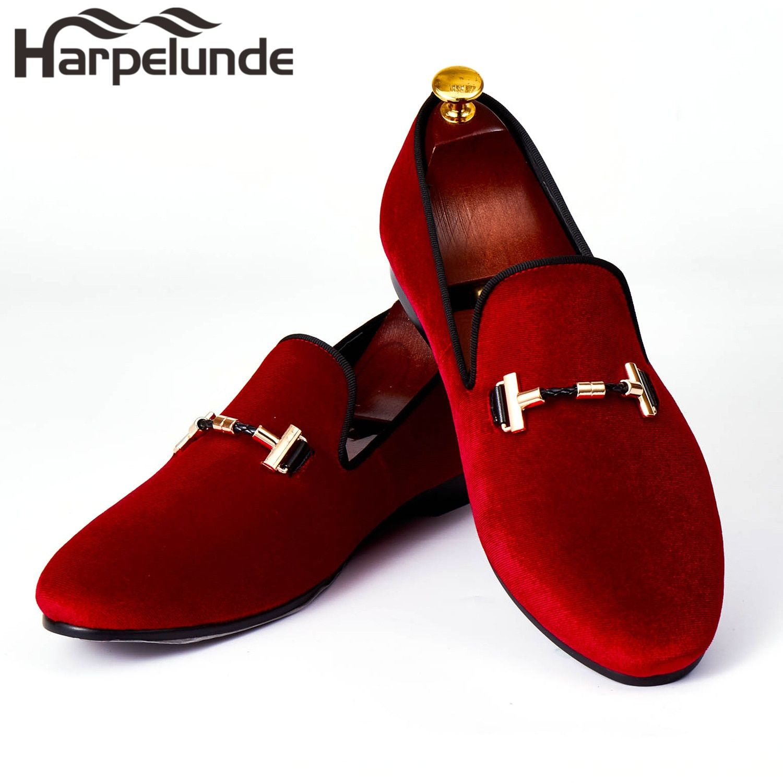 Harpelunde hombres italianos vestido Zapatos hebilla Correa Zapatos terciopelo rojo Mocasines Tamaño 7-14