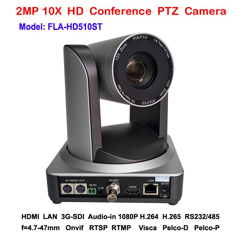 2MP 10x Zoom PTZ Camera 3G-SDI IP HDMI Three Simultaneous Video Outputs for Live RTMP IP Video Streaming