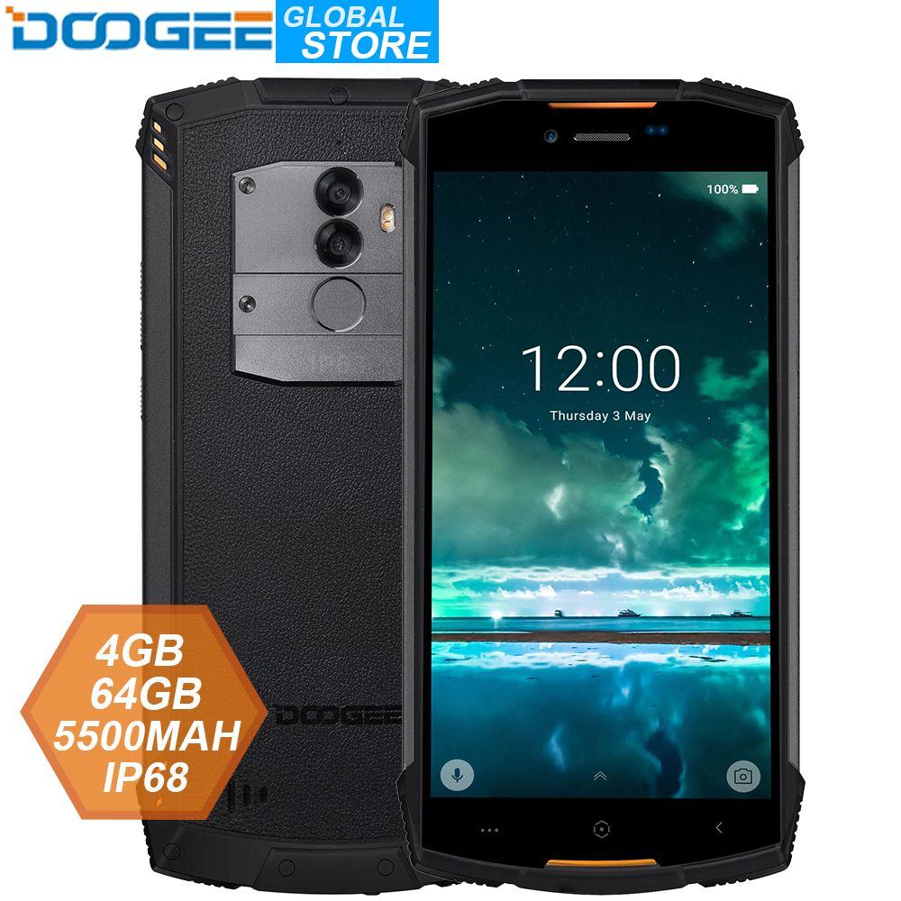 IP68 DOOGEE S55 extérieur étanche Smartphone MTK6750T Octa Core 4 GB RAM 64 GB ROM 5500 mAh 5.5 pouces Android 8.0 double SIM 13.0MP