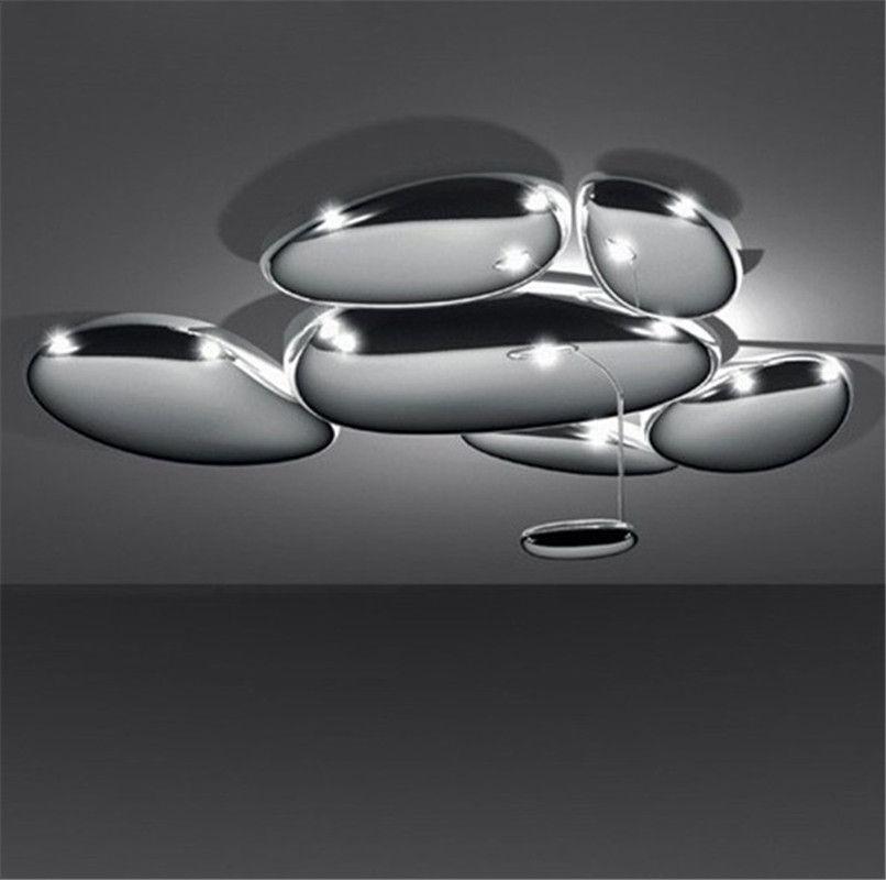 DIY Led Mercury Ceiling Light Luxury Skydro Ceiling Lamp Post Modern Lmininaire Plated Chrome Metal Ceiling Lighting Fixture