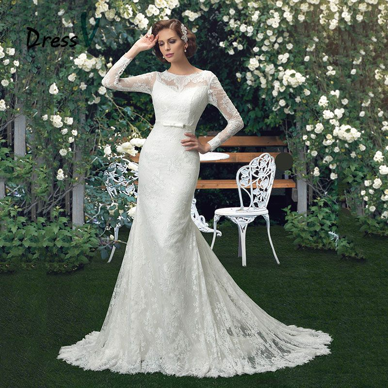 DressV White Vintage Mermaid Lace Wedding Dresses Trumpet Scoop Neck Long Sleeves Belt Court Train Button Back Bridal Gowns