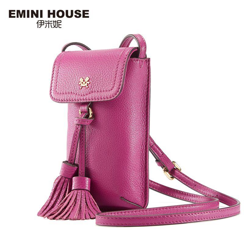 EMINI HOUSE 8 Colors Genuine Leather Tassel Phone Bag Vintage Women Shoulder Bags Crossbody Bags For Women Mini Messenger Bag