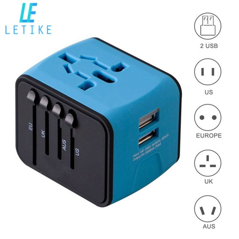 Letike Universal Travel Adapter All-in-one International Power Adapter with 2.4A Dual USB Wall Charger for UK/EU/AU/Asia Phone