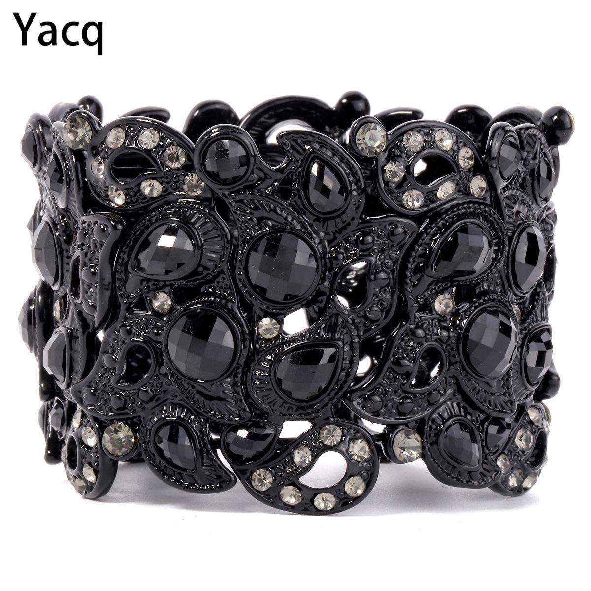 YACQ Bracelet Extensible Vintage Fleur Cristal Femmes Bijoux De Mode Cadeaux B10 En Gros Dropshipping Noir Or Argent Couleur