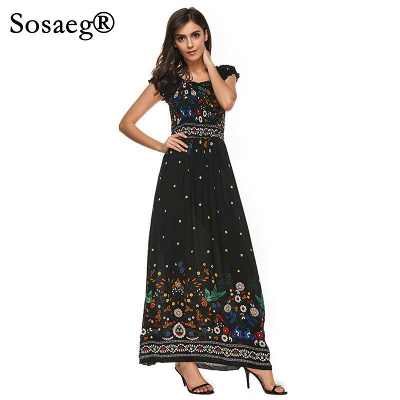 Sosaeg Women's Summer Long Maxi Fashion Beach Skater Party Dress New Temperament Lady's Print Dresses Sexy For Clothing Pleated