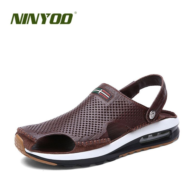 NINYOO 2017 Men's Sandals Slippers Genuine Leather Casual Shoes Youth Summer Beach Sandals Damping Hollow-out Flip Flops Slides
