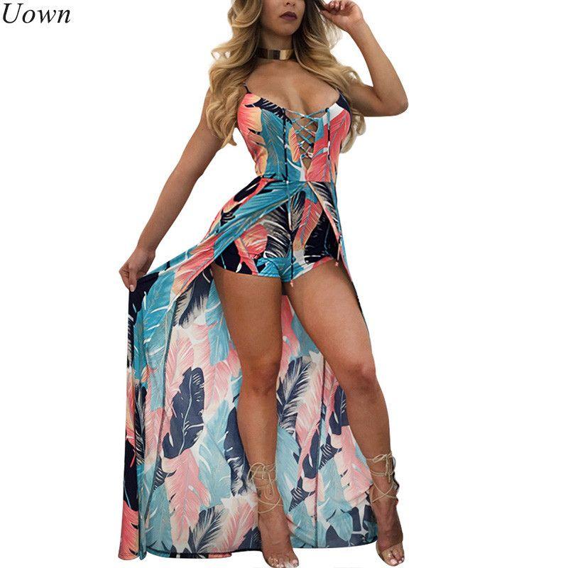 Élégant Boho sangle plage combinaison barboteuse femmes dos nu à lacets Combishort Femme dames plume imprimé combishorts salopette d'été