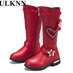 ULKNN Baru Asli Gadis kulit Sepatu Fashion Anak Perempuan Sepatu Salju Anak Sepatu Tahan Air hangat panjang-silinder hitam merah