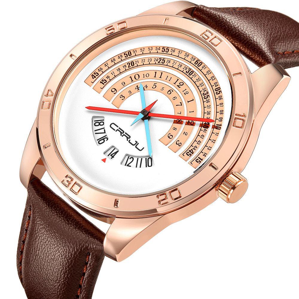 CRRJU Men luxury Sports leather Watches Male Funny Binary calendar Clock Japan Movement Waterproof Wrist Watch erkek kol saati