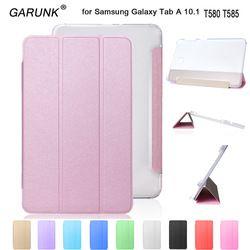 Case pour Samsung Galaxy Tab A6 10.1 T580 T585, GARUNK Magnétique Pliant Stand En Cuir Couverture De Comprimé De Protection pour T580N + Film + Stylo