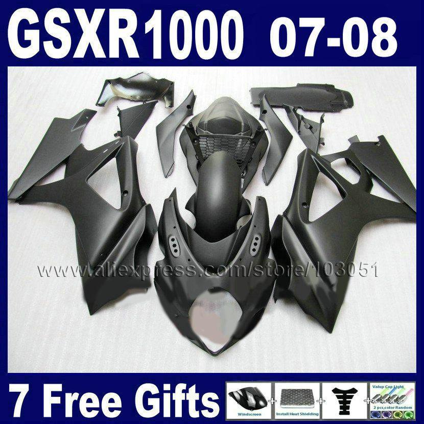 Benutzerdefinierte OEM motorrad verkleidungen kit für SUZUKI GSXR 1000 2007 GSXR 1000 2008 GSXR1000 K7 K8 07 08 matte schwarz karosserie verkleidung pa