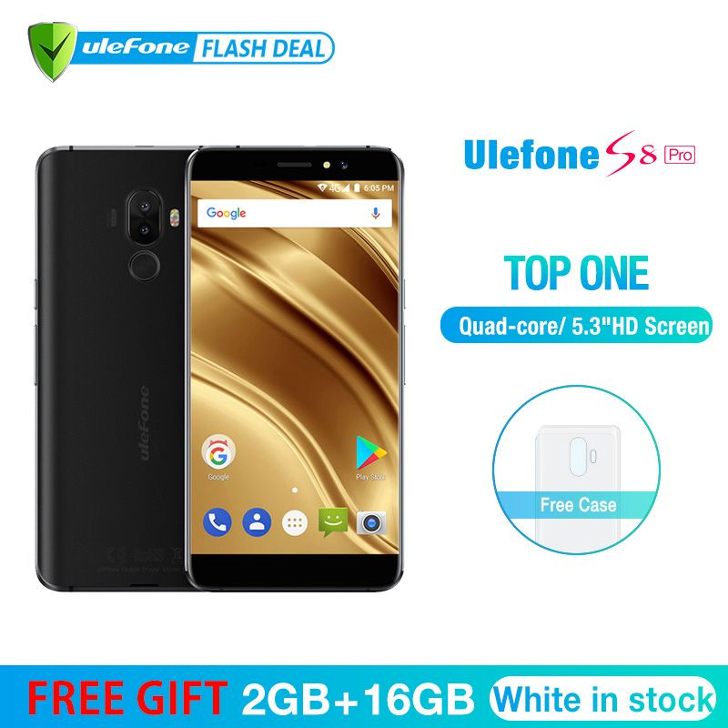 Ulefone S8 Pro Mobile Phone 5.3 inch HD MTK6737 Quad Core Android 7.0 2GB+16GB Fingerprint 4G Smartphone