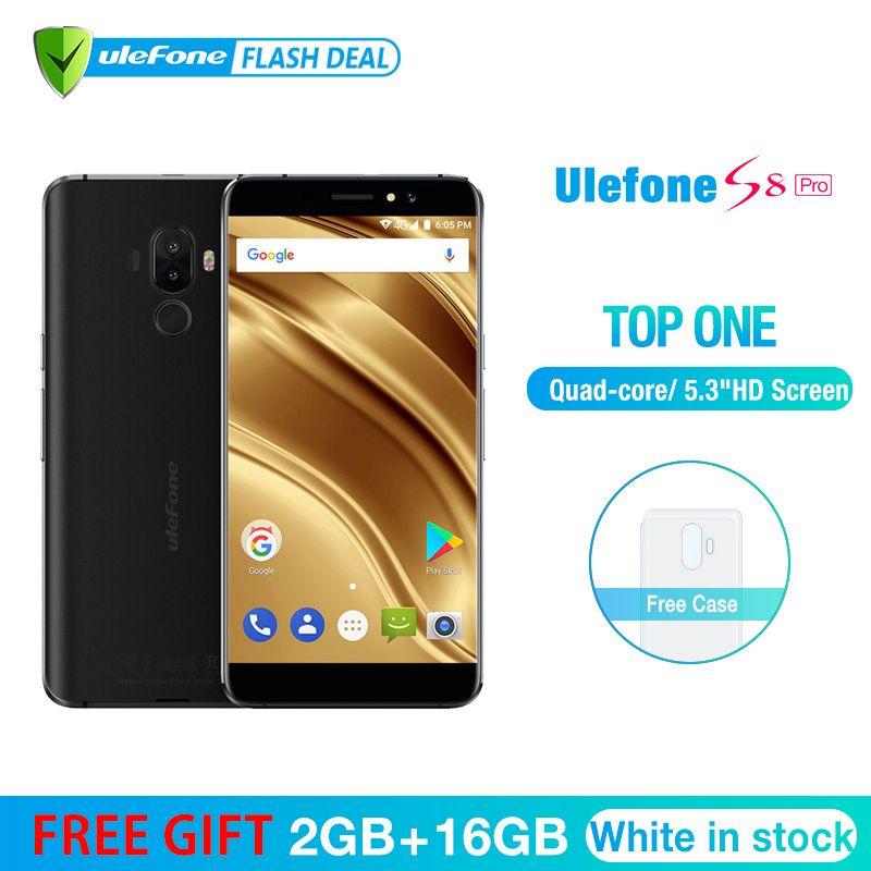 Ulefone S8 Pro Mobile Phone 5.3 inch HD MTK6737 Quad Core Android 7.0 2GB+16GB Fingerprint 4G Smartphone
