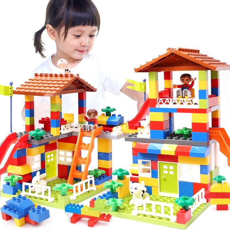 DIY Colorful City House Roof Big Particle Building Blocks Castle Educational Toy For Children Compatible LegoINGlys duplo slide