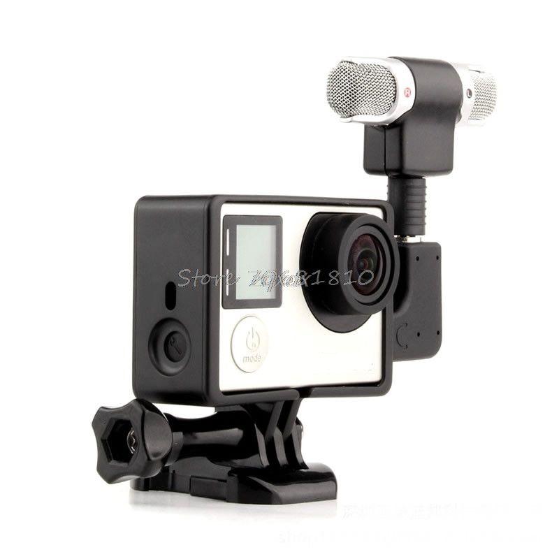 Externe Mikrofon Mic + Adapter + Standard Rahmen Kit Fit Für GoPro Hero 4 3 + 3 Z07 Drop schiff