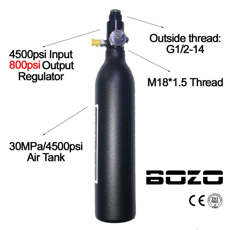 Paintball PCP Diving Mountaineering Air Tank Cylinder 4500psi/30MPA 0.2 0.35 0.45L HPA High Compressed Bottle M18*1.5 regulator