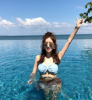 2018 113 9 newest color handmade crochet bikini bandeau bow halter swimwear women Floral bottom swimsuit hot summer