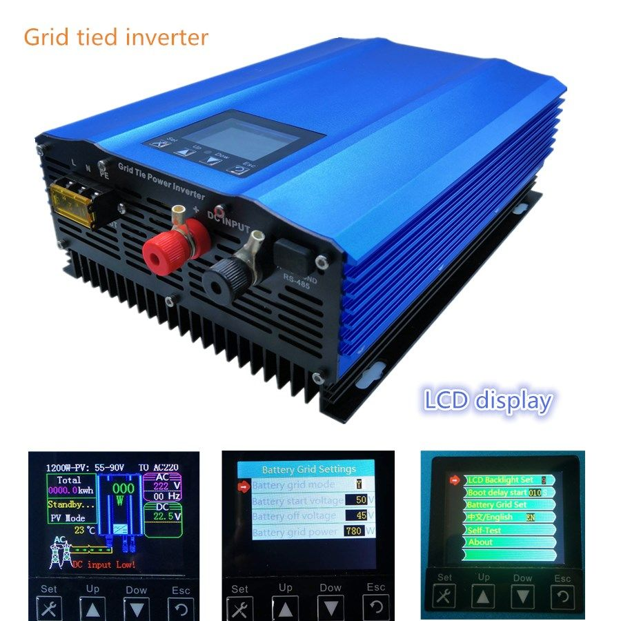 New 1000W grid tie inverter for PV DC Input:26V-45V or 24V battery discharge battery energy recovery lcd display pure sine wave