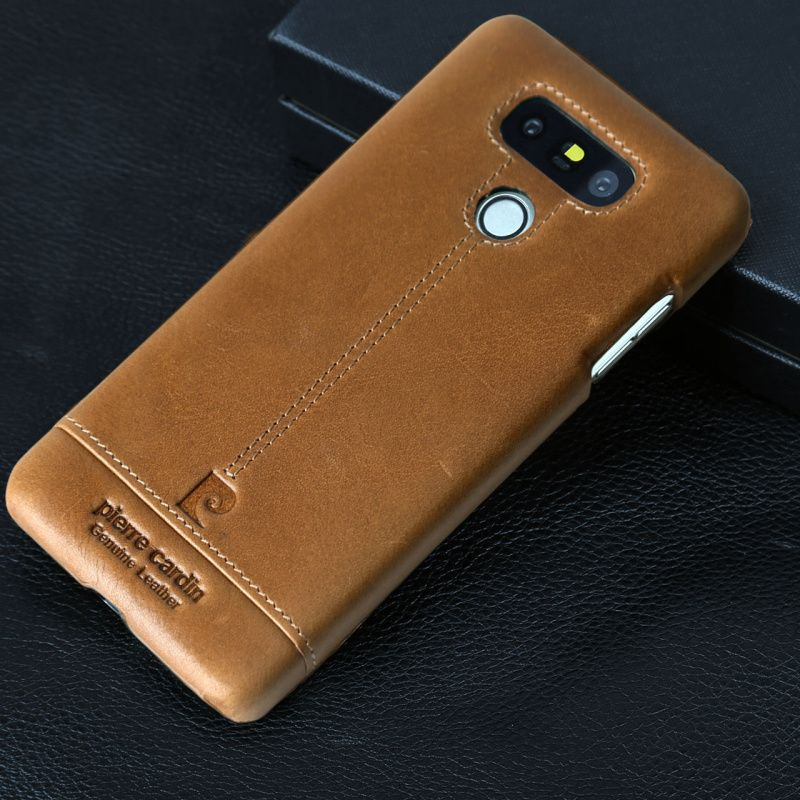 Original Pierre Cardin For LG G6 Case Cover Luxury Brand Vintage Genuine Leather Phone Cases Bags For LG G6 Hard Slim Back Cover