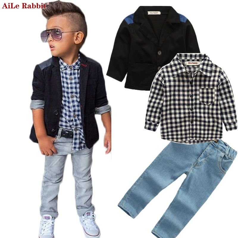 AiLe Rabbit Autumn New Boys Clothing Sets Jacket Shirts Jeans 3pcs Suits Denim Plaid Clothing Kids Long-sleeved Coat k1