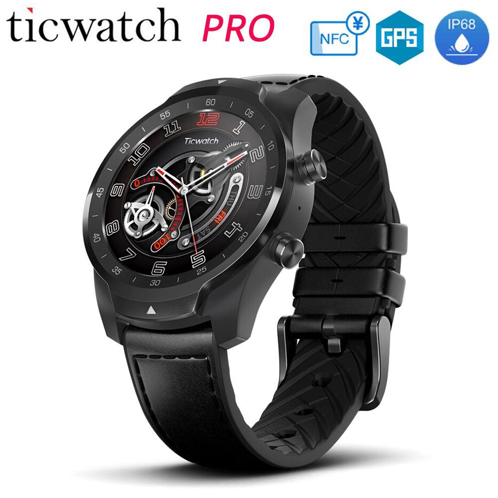 Original Ticwatch Pro Smart Uhr NFC Google Zahlen Google Assistent Layered Display Lange Standby IP68 Wasserdicht Sport Armbanduhr
