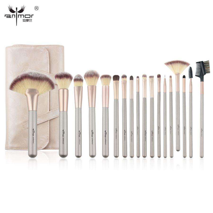 Anmor Naturel 18 pcs Pinceau de Maquillage Professionnel Pinceaux de Maquillage de Haute Qualité Synthétique Brosses Pour Le Maquillage avec Sac