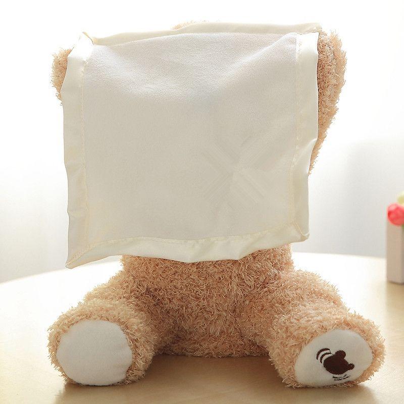 Azoo 30cm Peek a Boo ours en peluche jouer cacher chercher belle bande dessinée en peluche enfants anniversaire cadeau de noël mignon électrique musique ours en peluche