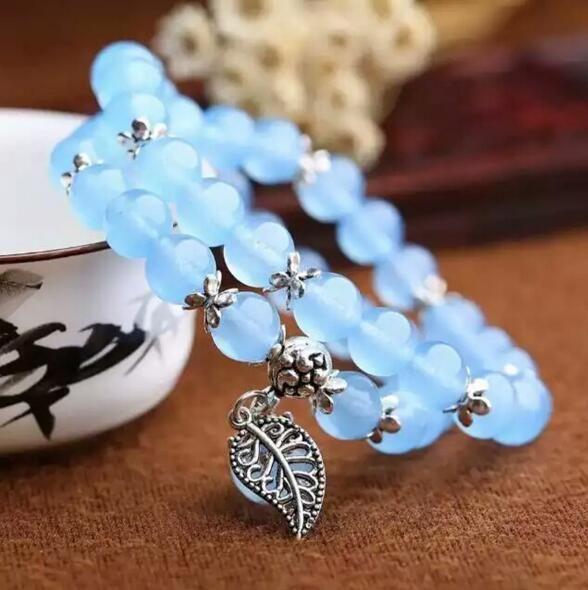 RongDe Pulseras De Cristal Azul Ronda Granos Afortunados Colgante para Los Amantes de Cristal Pulsera de Múltiples Capas de la Joyería de Plata Tibetana de la Hoja