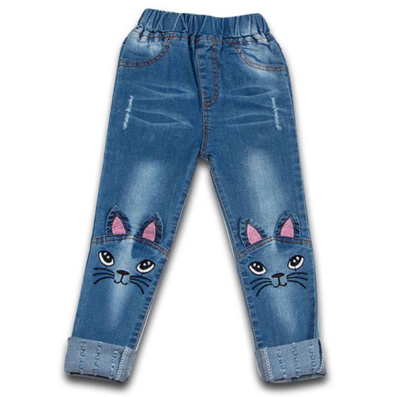 Мода 2017 г. маленьких Обувь для девочек Крaсивыe джинсы дети прекрасный кот Вышивка длинные джинсовые брюки Дети зима-осень повседневные штан...