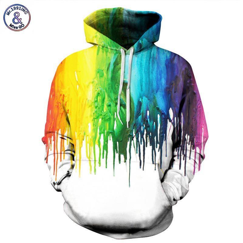 Mr.1991INC Splash paint Hoodies Men/Women Hooded Hoodies With Cap 3d Sweatshirt Print Paint Hoody Tracksuits Pullover Tops
